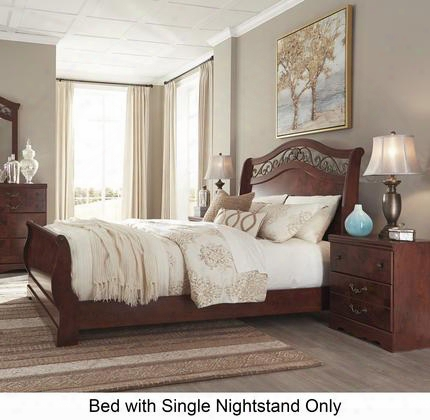 Delianna Queen Bedroom Set With Sleigh Bed And Single Nightstand In Reddish