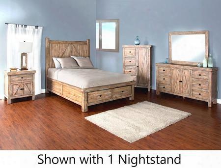 Durango Collection 2307wbskbdm2nc 6-piece Bedroom Set With Storage King Bed Dresser Mirror 2 Nightstands And Door Chest In Weathered Brown