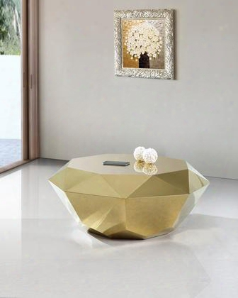 """Gemma Accumulation 222gold-c 39"""" Round Coffee Tablle With Stainless Steel Diamond Shape And Contemporary Style In Rich Gold"""
