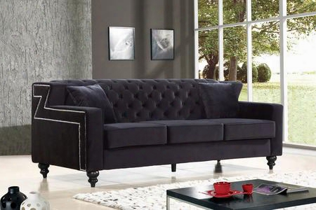 """Harley Collection 616bl-s 86"""" Sofa With Velvet Upholstery Tufted Back Silver Nailheads And Contemporary Style In"""