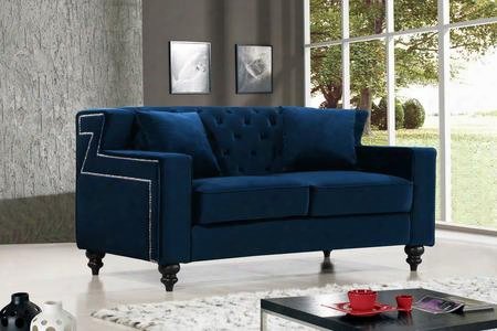 "Harley Collection 616navy-l 62"" Loveseat With Velvet Upholstery Tufted Back Silver Nailheads And Contemporary Style In"