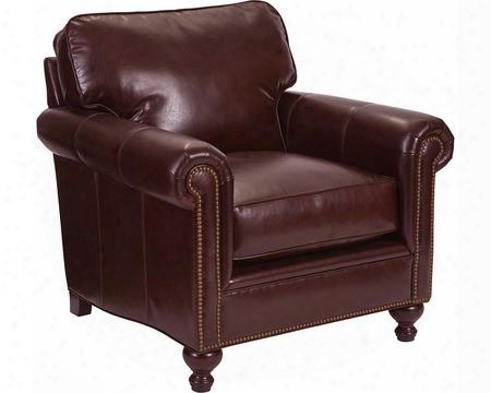"Harrison Collection L6751-0q/0015-79 38"" Chair With Leather Upholstery Nail Head Trim Rolled Arms And Traditional Style In Brown With Affinity"