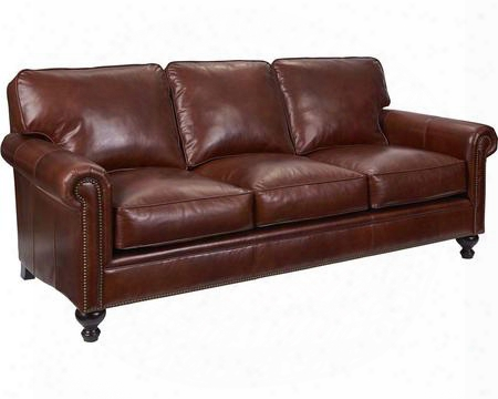 "Harrison Collection L6751-3q/0015-79 84"" Sofa With Leather Upholstery Nail Head Trim Rolled Arms And Traditional Style In Brown With Affinity"