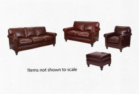 Harrison Collection L6751q001579slco 4-piece Living Room Set With Sofa Loveseat Chair And Ottoman In Brown With Affinity