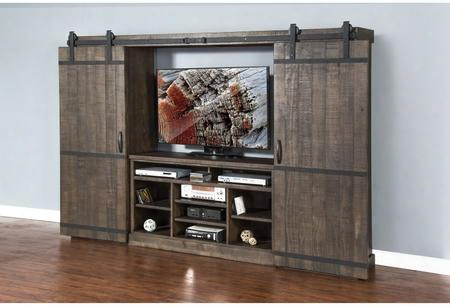 "Homestead Collection 3579tl-2 105"" Barn Door Entertainment Wall With Sliding Bard Doors Adjustable Shelves And Cord Management In Tobacco Leaf"