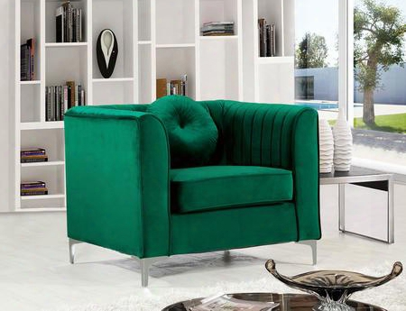 """Isabelle Collection 612green-c 39"""" Chair With Velvet Upholstery Chrome Legs Piped Stitching And Contemporary Style In"""