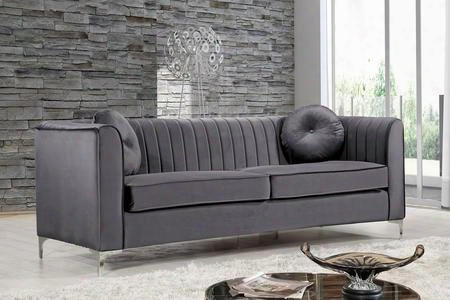"Isabelel Collection 612grey-s 87"" Sofa With Velvet Upholstery Chrome Legs Piped Stitching And Contemporary Style In"