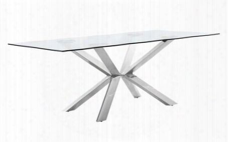 "Juno Collection 732-t 78"" Dining Table With Glass Top Rich Chrome Stainless Steel And Contemporary Style In"