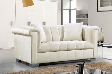 "Kayla Collection 615cream-l 68"" Loveseat With Velvet Upholstery Chrome Legs And Contemporary Style In"