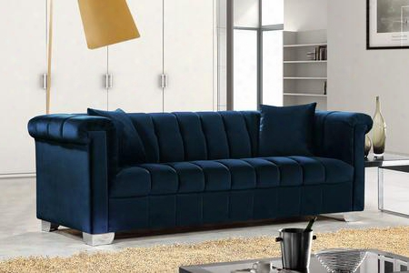 "Kayla Collection 615navy-s 90"" Sofa With Velvet Upholstery Chrome Legs And Contemporary Style In"