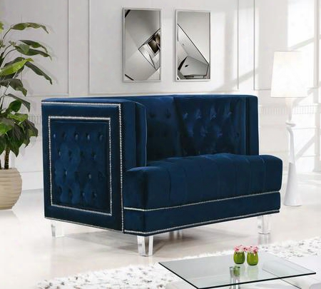 """Lucas Collection 609navy-c 41"""" Chair With Velvet Upholstery Silver Nail Heads Tufted Cushions And Contemporary Style In"""