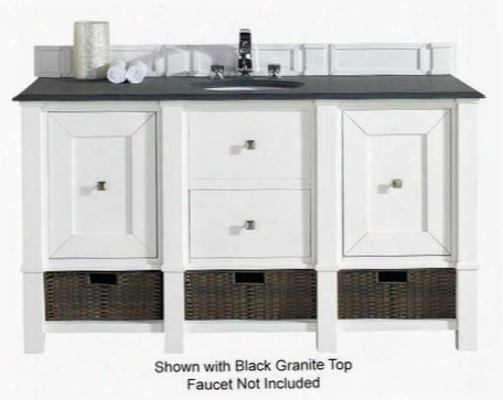 "Madison Collection 800-v60s-cwh-2glb 60"" Cottage White Single Vanity With Two Soft Close Doors One Drawer Ottom Shelf Satin Nickel Hardware And 2 Cm Galala"