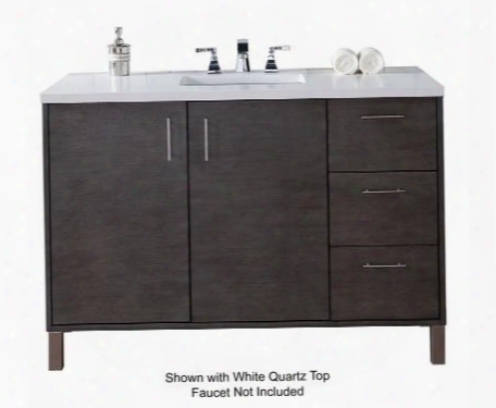 "Metropolitan Collection 850-v48-sok-4glb 48"" Silver Oak Single Vanity Upon Two Soft Close Doors Three Soft Close Drawers Chrome Hardware And 4 Cm Galala"