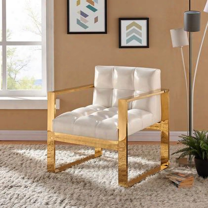 "Mia Collection 513white 29"" Accent Chair With Leather Upholstery Track Arms Stainless Steel And Contemporary Style In White With Gold"