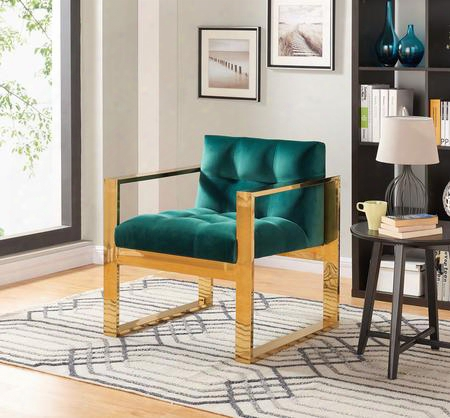 "Mia Collection 514green 29"" Accent Chair With Velvet Upholstery Track Arms Stainless Steel And Contemporary Style In Green With Gold"