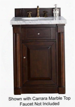 "New Haven Collection 770-v26-bnm-2glb 26"" Burnished Mahogany Single Vanity With One Drawer One Door Satin Nickel Hardware And 2 Cm Galala Beige Marble"