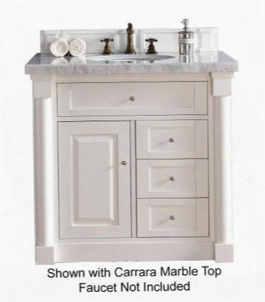 "New Haven Collection 770-v36-cwh-2glb 36"" Cottage White Single Vanity With Four Drawers One Door Satin Nickel Hardware And 2 Cm Galala Beige Marble"