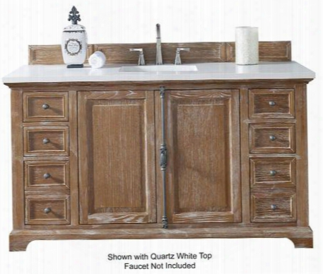 "Providence Collection 238-105-5311-4car 60"" Driftwood Single Vanity With Plantation Style Hardware Two Soft Close Doors Six Soft Close Drawers And 4 Cm"