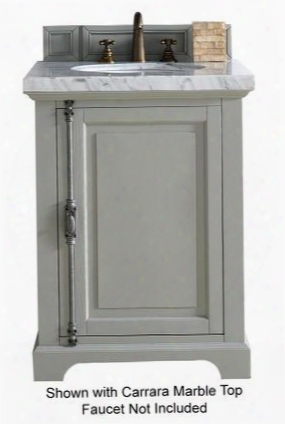 "Providence Collection 238-105-v26-ugr-4glb 26"" Urban Gray Single Vanity With Plantation Style Hardware One Soft Close Door And 4 Cm Galala Beige Marble"