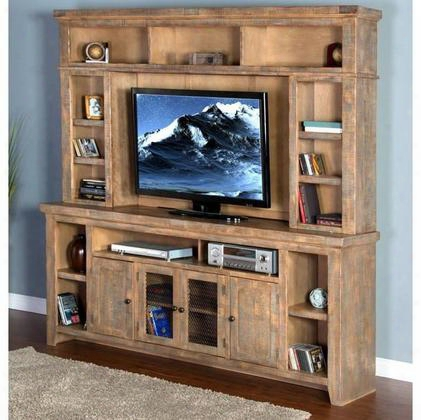 "Puebla Collection 3559dw 84"" Entertainment Wall With 2 Glass Doors And Storage Around Whole Hutch In Drift Wood"