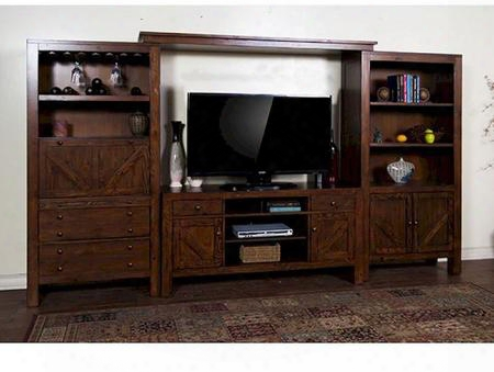 "Ranch House Collection 3485ab 134"" Entertainment Wall With Wine Glass Hplder 4 Doors And 4 Drawers In Antique Bronze"