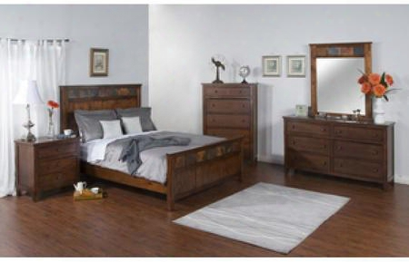 Santa Fe Collection 2334dckbdmnc 5-piece Bedroom Set With King Bed Dresser Mirror Nightstand And Chest In Dark Chocolate