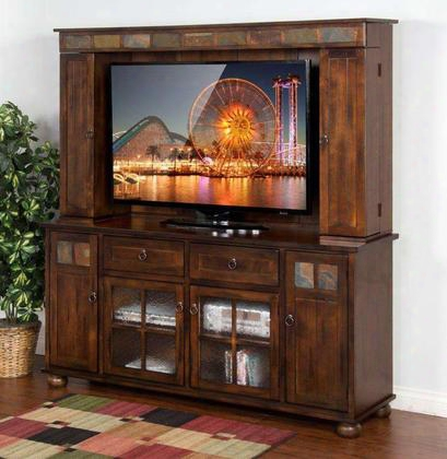 "Santa Fe Collection 3322dc 72"" Tv Console & Media Hutch With 6 Doors 2 Drawers And Adjustable Shelves In Dark Chocolate"