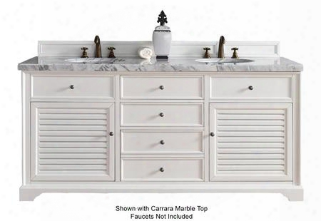 "Savannah Collection 238-104-v72-cwh-4glb 72"" Cottage White Double Vanity With Two Soft Closing Doors Three Soft Closing Drawers Antique Pewter Hardware And 4"