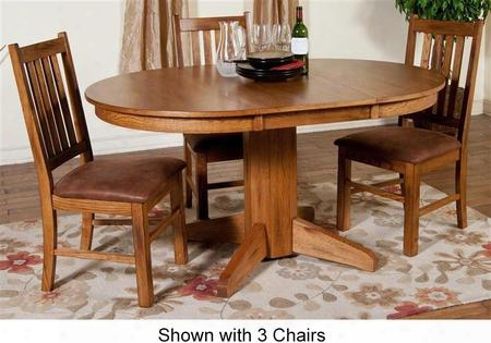 Sedona Collection 1114rodt4c 5-piece Dining Room Set With Oval Extension Table And 4 Chairs In Rustic
