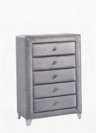 "Sophie Collection Sophie-ch 40"" Chest With Velvet Upholstery Crystal Handles Chrome Legs And Traditional Style In"