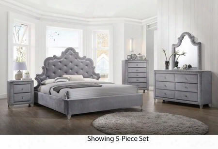 Sophie Collection Sophiekpbdm2nc 6-piece Bedroom Set With King Panel Bed Dresser Mirror 2 Nightstands And Chest In