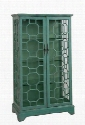 "67503 38"" Curio Cabinet with 2 Glass Doors Geometric Design and 3 Glass Shelves in Bayberry"