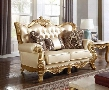 "Bennito Collection 676-L 68"" Loveseat with Bonded Leather Upholstery Solid Wood Hand Carved Designs Tufted Back Cushion and Traditional Style in"