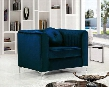 "Isabelle Collection 612NAVY-C 39"" Chair with Velvet Upholstery Chrome Legs Piped Stitching and Contemporary Style in"