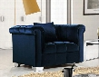"Kayla Collection 615NAVY-C 46"" Chair with Velvet Upholstery Chrome Legs and Contemporary Style in"