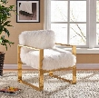 "Milo Collection 516FUR 29"" Accent Chair with Fur Upholstery Track Arms Stainless Steel and Contemporary Style in White with Gold"
