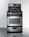 "PRO246SS 24"" Wide Gas Range with Electronic Ignition Oven Window Open Burners Digital Clock/Timer in Stainless"