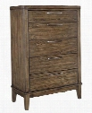 "Zilmar Collection B548-46 34"" 5-Drawer Chest with Felt-Lined Top Drawer Tapered Legs and Wood Grain Details in"