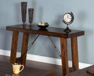 "Tuscany Collection 3189vm-s 51"" Sofa/console Table With Antiqued Turnbuckle Accents Stretchers And Distressed Detailing In Vintage Mocha"