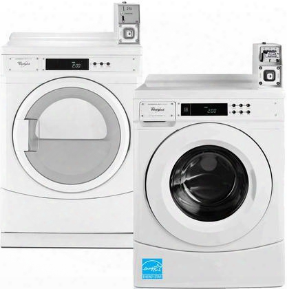 "White Commercial Laundry Pair With Chw9050aw 27"" High Efficiency Washer And Cgd8990xw 27"" Gas"