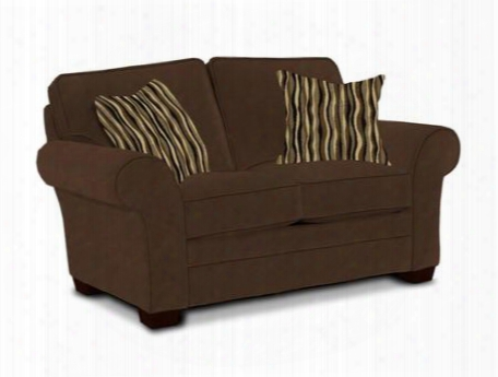 "Zachary Collection 7902-1q/7973-87/7978-85 67"" Loveseat With Fabric Upholstery Rolled Arms Piped Stitching And Casual Style In Brown With Affinity"