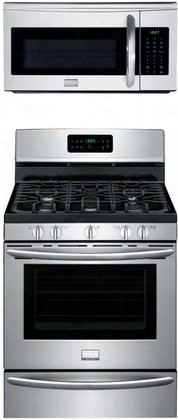 "2-piece Stainless Steel Kitchen Package With Dggf3046rf 30"" Freestanding Gas Range And Fgmv175qf 30"" Over-the-range"