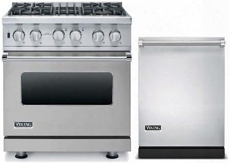 """2-piece Stainless Steel Kitchen Package With Vdsc5304bsslp 30"""" Liquid Propane Dual Fuel Range And Vdw302ss 24"""" Fully Integrated"""