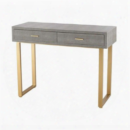 "Beaufort Collection 3169-025t 39"" Desk With 2 Drawers Metal Hardware Faux Shagreen Material Wood And Metal Construction In Gold And Grey"