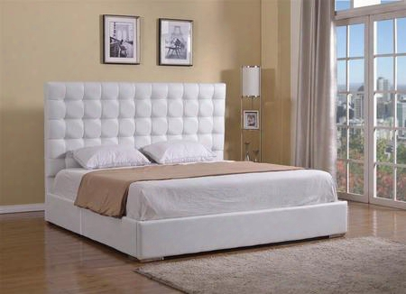 Bella Collection Cb-a016bd-kw King Size Platform Bed With Chrome Frame Button Tufted Headboard And Eco Leather Upholstery In White