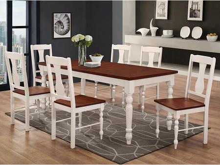C60wtlwbn 7-piece Two Toned Solid Wood Dining Set -