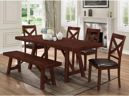 C60wtres 6-piece Solid Wood Trestle Style Dining Set -