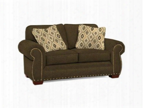 "Cambridge Collection 5054-1q2/4247-93/4246-82 68"" Loveseat With Fabric Upholstery Rolled Arms Nail Head Trim And Casual Style In Grey With Walnut"
