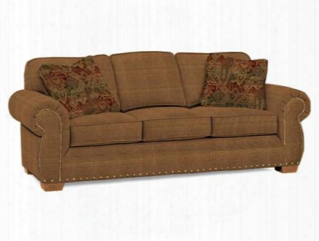 "Cambridge Collection 5054-3q1/8298-12/8296-79 90"" Sofa With Fabric Upholstery Rolled Arms Nail Head Trim And Casual Style In Yellow With Attic Heirlooms"