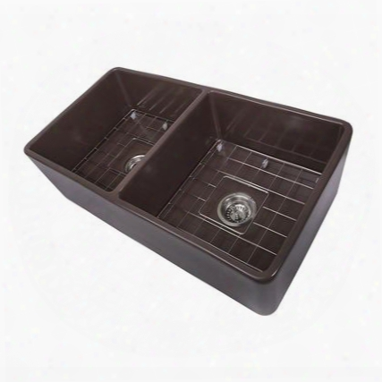 "Cape Collection T-fcfs33cb-dbl 33"" Double Bowl Farmhouse Fireclay Kitchen Sink In Coffee"